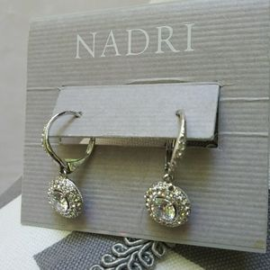 Nadri Pavé Framed Drop Earrings Leverback